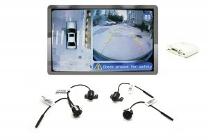 iParaAiluRy® 360 Around View Parking Assist Universal for All Cars with DVR function & 4 x 170 degree Cameras - Bird's-eye View Parking Aid