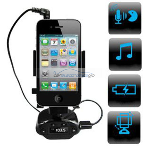 iParaAiluRy® 4-in1 Smart Stand Holder Car Handsfree Kit & FM Transmitter for iPhone & Smartphone