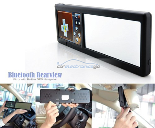 iParaAiluRy® 4.3 Inch Bluetooth Rearview Mirror with Built-in GPS Navigation
