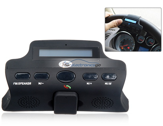iParaAiluRy® New LCD Screen Multifunctional Steering Wheel Bluetooth Hands-free Car Kit with Bluetooth Earphone, MP3 Player & FM Transmitter Black
