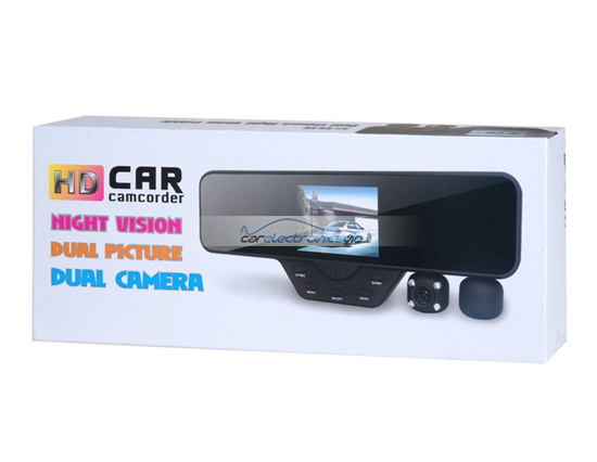"iParaAiluRy® 3.5"" HD Dual-Lens Rear-View Mirror Stealth Driver Recorder TF Card 120 Degrees HDMI Black"