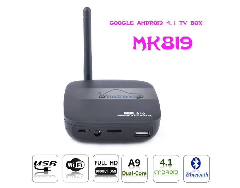 iParaAiluRy® Blue-tooth MK819 Android TV Box TV Dongle Android 4.1 RK3066 Dual Core A9 1.6G 1G RAM 8G  Camera