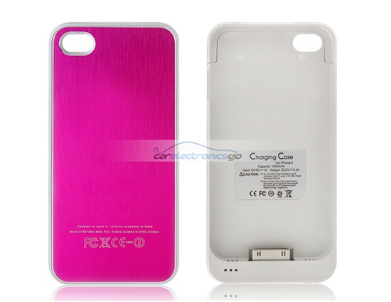 iParaAiluRy® 1600 mAh Protective External Battery Case for iPhone 4 & 4S Battery Case(Pink)