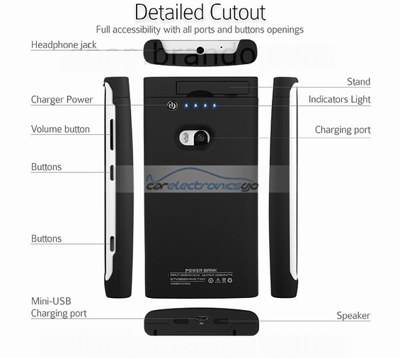 iParaAiluRy® 2200mAh External Battery Backup Charger Case for Nokia Lumia 920
