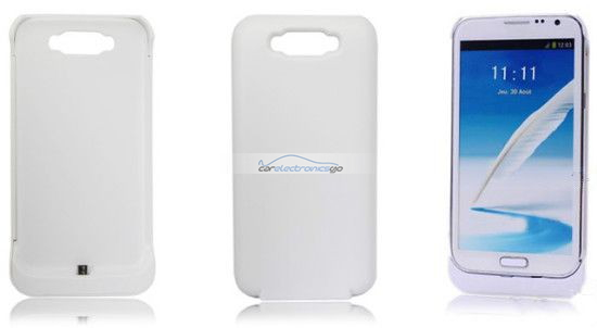 iParaAiluRy® 3600mAh Backup Battery Case Cover for Samsung Galaxy Note II External Battery Power Pack Bank White Black
